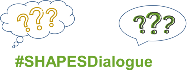 Two question mark bubbles to indicate dialogue with #SHAPESDialogue underneath in green text