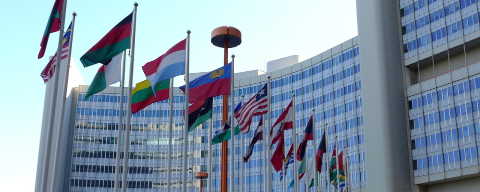 Picture of outside the United Nations building in Vienna