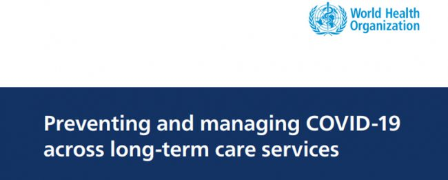 WHO logo describing the policy on preventing and managing COVID-19 across long-term care services