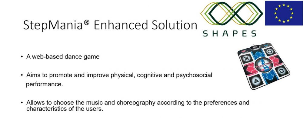 StepMania® Enhanced Solution: - A web-based dance game - Aims to promote and improve physical, cognitive and psychosocialperformance. - Allows to choose the music and choreography according to the preferences and characteristics of the users. - Requires simultaneous execution of physical and cognitive activity in a training dual task-training approach. - Guidance of users' sequence movements using light system feedback.