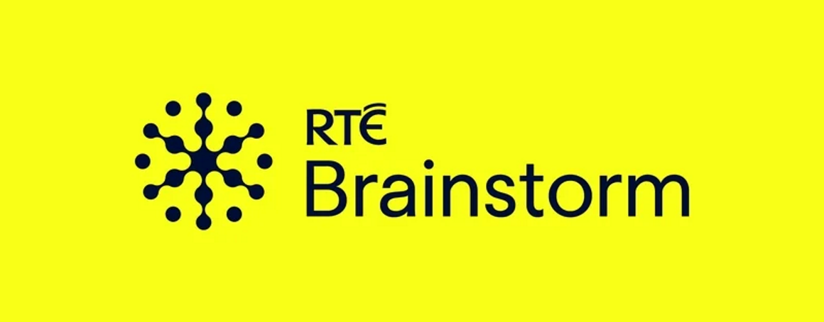 RTE brainstorm logo in black on a yellow background