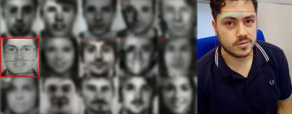 A set of facial images from ID cards and an image of a person captured with a mobile phone are seen. Around the captured person's face, some feedback graphics from the digital solution show that the person has been correctly recognized as one of the registered IDs.