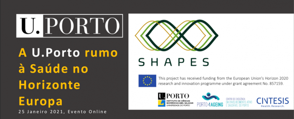 """Print of the main page of the presentation used in the session """"The University of Porto towards Horizon Europe"""", that took place on the 27th January, where two representatives from the SHAPES shared their experience in the project and in the Horizon2020 Program, as an example of good practices."""