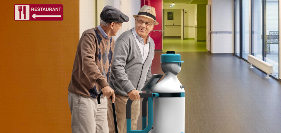 KOMPAÏ robot assisting older persons to walk between the restaurant and the living room