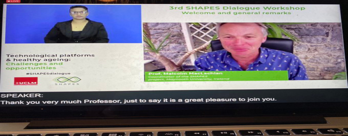 3rd Dialogue Workshop screenshot showing Malcolm MacLachlan, coordinator of the SHAPES project, opening the event.