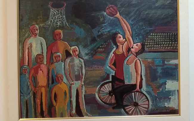 Picture of painting of onlookers watching a game of wheelchair basketball.