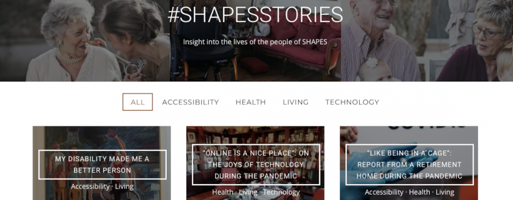 Overview page for #shapesstories on the project's website with topical filters.