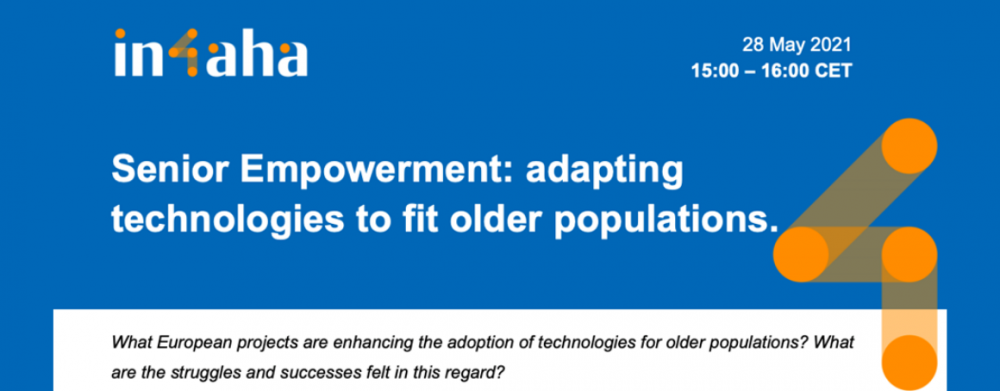 Blue poster with title of event at the centre. Senior Empowerment: adapting technologies to fit older populations.