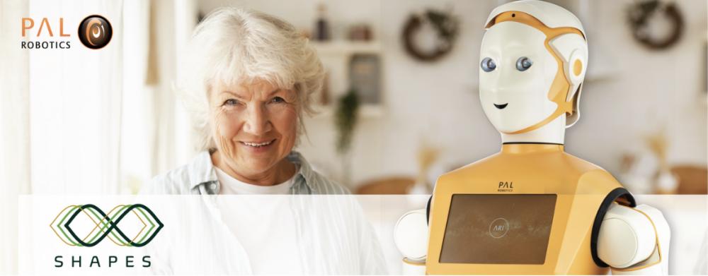 Shapes Social Robot ARI helping an older adult